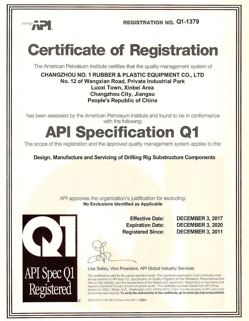 API Q1 Quality Management System Certification